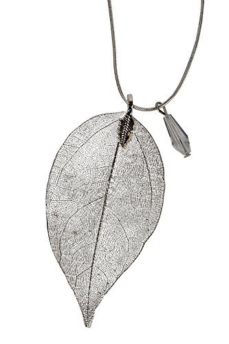 SPUNKYsoul Long Leaf Filigree Necklace with Faceted Crystal in Silver, Gold and Gun Metal & Rose Gold Snake Chain Gift for Women Collection (Necklace Silver) (Long Necklace Leaf)