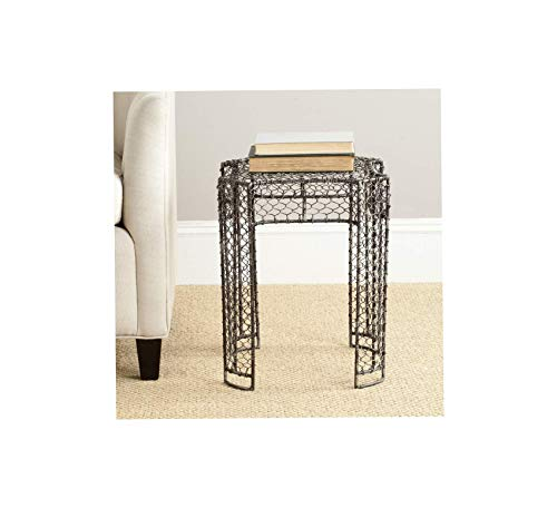 - Wood & Style Furniture Steelworks Iron Links Side Table, Brown Home Office Commerial Heavy Duty Strong Décor