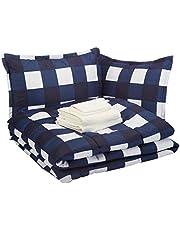 AmazonBasics 8-Piece Comforter Bedding Set, Full / Queen, Navy Oversized Gingham, Microfiber, Ultra-Soft