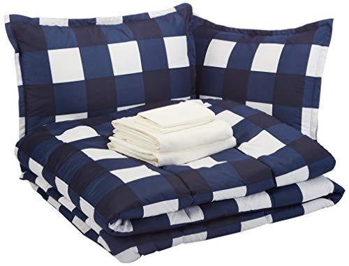 AmazonBasics 8-Piece Comforter Bedding Set, Full / Queen, Navy Oversized Gingham (Guy Queen Size Bed Set)