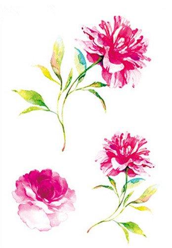 SanerLian Waterproof Temporary Fake Tattoo Stickers Watercolor Pink Peony Flowers Set of 2