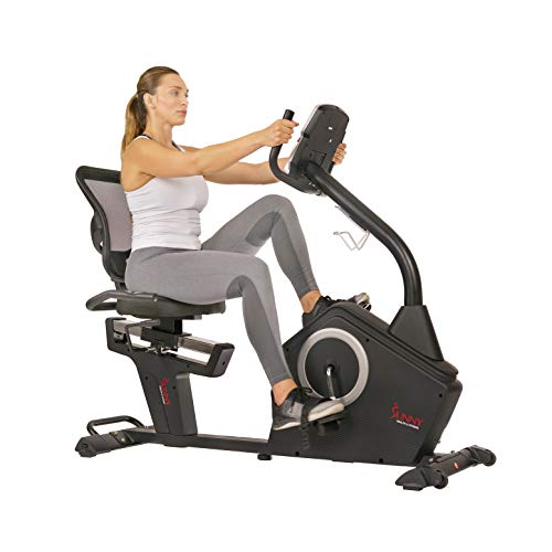 Sunny Health & Fitness Magnetic Recumbent Exercise Bike with Large Soft Comfort Seat with Mesh Back, 12 Preset or Custom Workouts and Advanced Performance Monitor - SF-RB4850 Sunny Health & Fitness