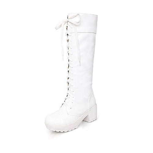bc74f37c Las Mujeres Ata para Arriba Los Zapatos Femeninos De TacóN La Rodilla Altas Botas  OtoñO Invierno Suave Cuero Fashion Square: Amazon.es: Zapatos y ...