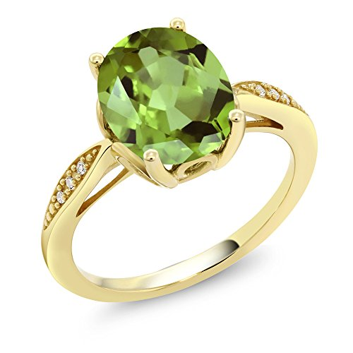 Gem Stone King 14K Yellow Gold Green Peridot and Diamond Women's Ring (3.04 Ct Oval Gemstone Birthstone Available in size 5, 6, 7, 8, - Gold Green Diamond 14k
