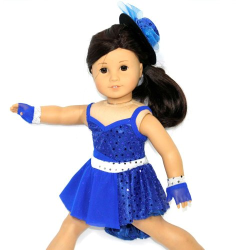 Arianna Fits American Girl 18 Doll - Jazz Vibrant Blue Dance Costume, Glovelettes, Fedora - 18 inch Doll Clothes - Boutique Quality She's Worth it! - Designed in USA Fits 18 inch Dolls (Clothes Justice 18 Inch Doll)