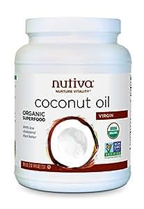 Nutiva Organic, Cold-Pressed, Unrefined, Virgin Coconut Oil from Fresh, non-GMO, Sustainably Farmed Coconuts, 78 Fluid Ounces