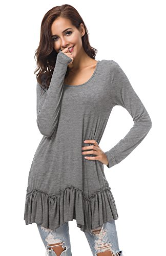 Urban CoCo Women's Casual T-Shirt Solid Long Sleeve Tunic Tops (XL, Heather Gray) (Ruffle Bottom Tunic)