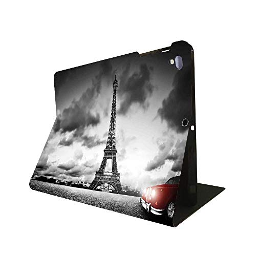 """iPad 9.7"""" 2018 / iPad Air 1/2009 Case Cars,Romantic Landscape Famous Eiffel Tower on a Cloudy Day and Vibrant RedUltra-Thin Lightweight Protection Angle Smart case Automatic Sleep Wake-up Function"""