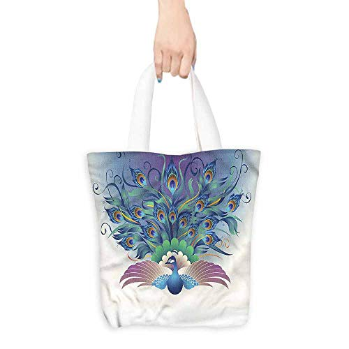 Reusable Shopping Grocery Bags,Peacock Majestic Bird Tail Design,Canvas Grocery Shopping Bags with Handles,16.5