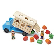 Melissa & Doug Shape-Sorting Wooden Dump Truck Toy With 9 Colorful Shapes and 2 Play Figures