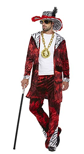 MA ONLINE Adults Old Fashion Gangster Costume Outfit Mens Fancy Big Daddy Swag Dress Up Suit One -