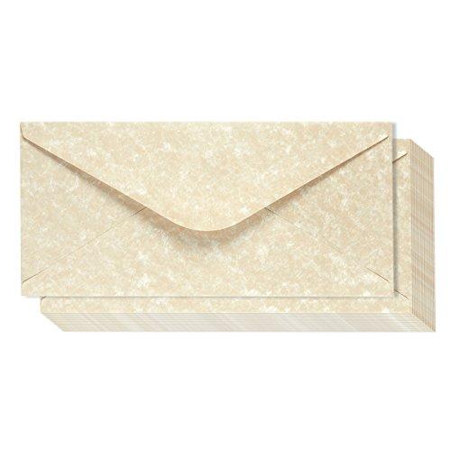 Cream Invitations (48 Pack Parchment Envelopes - Parchment Paper with Cream Old Fashion Aged Vintage Antique Design - Gum Seal Parchtone Paper Envelopes, 8.75 x 4 inches)