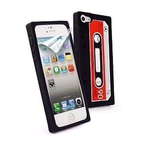 Tuff-Luv de cinta de casete carcasa de silicona para iPhone 5 (incluye protector de pantalla) - negro