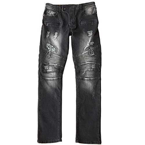 ONTTNO Men's Ripped Slim Straight Fit Biker Skinny Fit Denim Jeans with Zipper (30W x 31L, Grey)