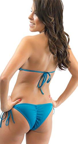 113286aa78a Lena Style Turquoise Triangle String Bikini Extreme Micro Bikini for Women  (One Size)