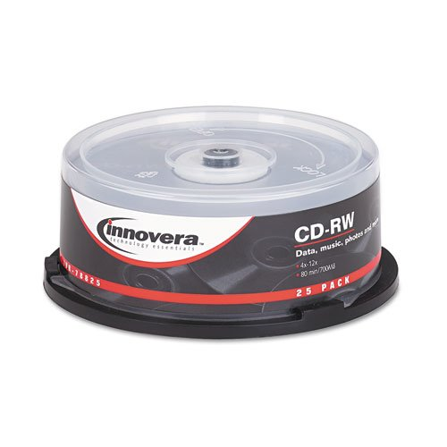 Innovera 78810 CD-RW 700MB/80min 12X Discs with Spindle, Silver, 25 per Pack by Innovera