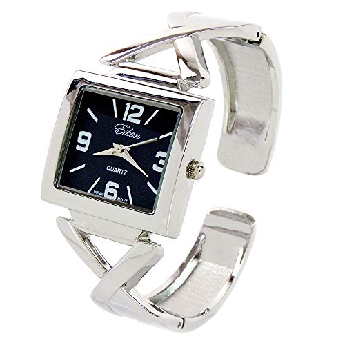 - Silver Black Square Large Dial Women's Bangle Cuff Watch