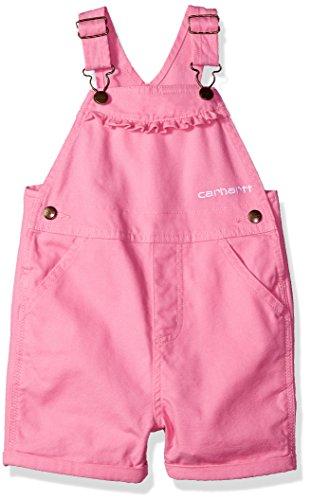 Carhartt Girls' Toddler Canvas Bib Shortall, Medium Pink, 2T