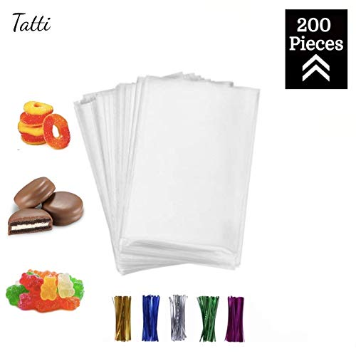 Baby Shower Cake Bags (200 Pcs 4x6 Clear flat Cello/Cellophane Treat Bags for Gift Wrapping, Bakery, Cookie, Candies, Dessert, Party Favors Packaging, with color Twist)
