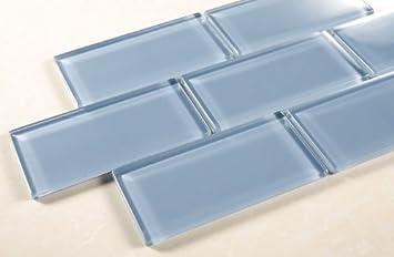Pacific Ocean - 3x6 Blue Glass Tile Mosaic - Bathroom Tile & Kitchen Backsplash Tile (price per square feet, 8 pieces) - Blue Glass Subway Tile - Amazon.com