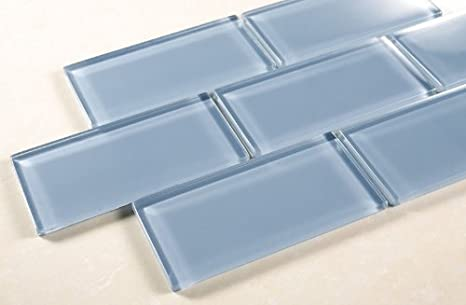 Pacific Ocean - 3x6 Blue Glass Tile Mosaic - Bathroom Tile & Kitchen  Backsplash Tile (price per square feet, 8 pieces)