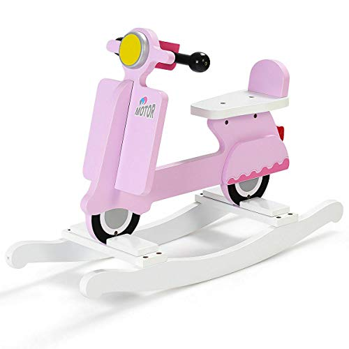 - Wooden Rocking Horse for Kids, Toddlers, Child Playroom Motorcycle Rocker Chair, Boys and Girls Birthday Gift Ride Toy (Pink)