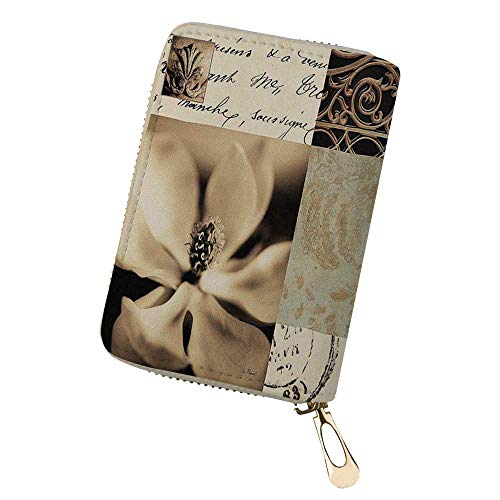 (Women's Credit Card Case Wallet Flaxen Silhouette Zipper Card Holder Purse)