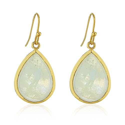 (18K Gold-Plated Rims Pear Shape Moonstone Gemstone Dangle Earrings)