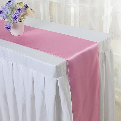 10PCS 12 x 108 Inch Satin Table Runner Wedding Banquet Decoration (#05 Pink)