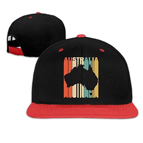 (Retro Style Australia Silhouette Womens and Mens Hip-Hop Flatbrim Baseball Hats, Adjustable Dad Hat)