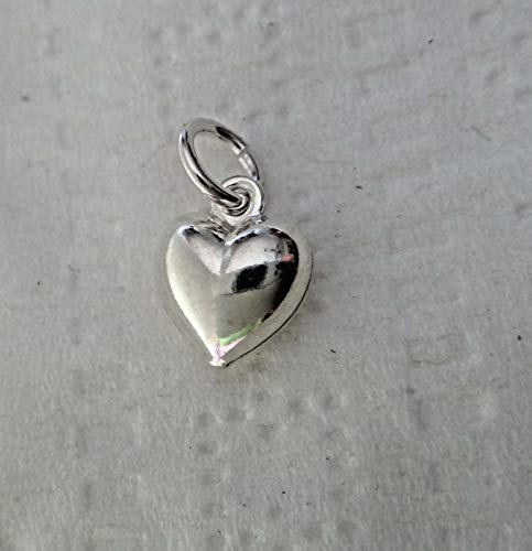 - Tiny 8x7mm Sterling Silver Puffy Heart Charm Jewelry Making Supply, Pendant, Sterling Charm, Bracelet, Beads, DIY Crafting and Other by Wholesale Charms