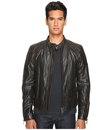 Belstaff Leather - Belstaff Men's Outlaw Lightweight Hand Waxed Leather Jacket, Black 50 (US Size 40)