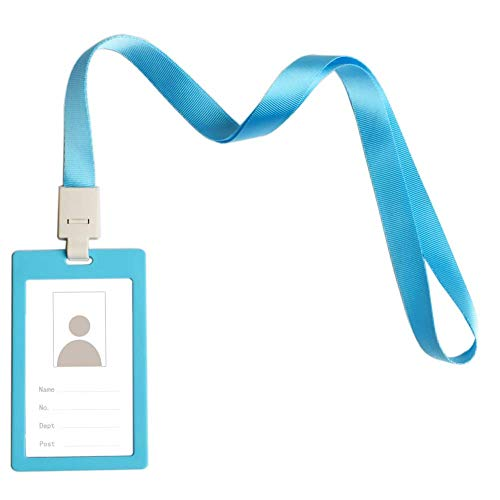 - CTZD Badge Holder Identification Sleeve with Detachable Neck Lanyard Matte Tag Vertical Multicolored (Light Blue, 1 Pack)