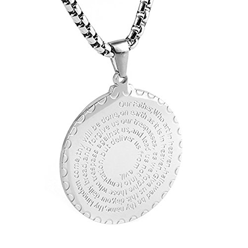 Silver Medallion Necklace (HZMAN Stainless Steel Lord's Prayer and Cross Medallion Pendant Necklace, Gold Tone 24
