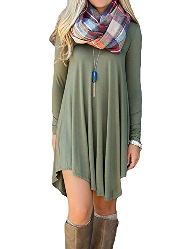 ReachMe Womens Long Sleeve Casual Loose T-Shirt Dress Midi Tunics For Leggings(Green,XL)