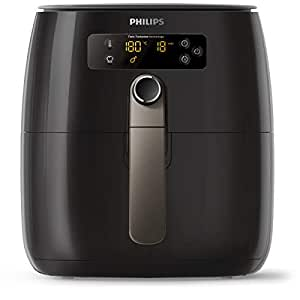 Philips Avance Collection Low Fat Digital Air Fryer with Twin Turbo Star Technology & QuickClean Basket with Non-Stick Mesh and Removable Handle, 0.8kg Capacity, 1500W, Black, HD9742/93
