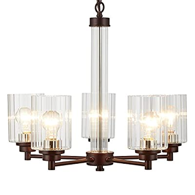 Doraimi 3/5 Light Chandelier Lighting Modern and Concise Style Ceiling Light Fixture with Clear Ribbed Glass Shade for Foyer Dining Room Living Room Family Room (Brown, 5Light) -  - kitchen-dining-room-decor, kitchen-dining-room, chandeliers-lighting - 41lnlNJU0cL. SS400  -