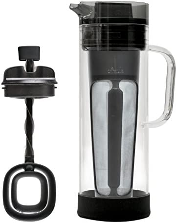 Primula Cold Brew Glass Coffee Maker Borosilicate Glass Carafe and Stainless Steel Mesh Core Dishwasher Safe 50 oz. 1.5 qt. Smokey Grey