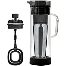 Primula Cold Brew Glass Coffee Maker – Borosilicate Glass Carafe and Stainless Steel Mesh Core – Dishwasher Safe – 50 oz. [1.5 qt.] – Smokey Grey
