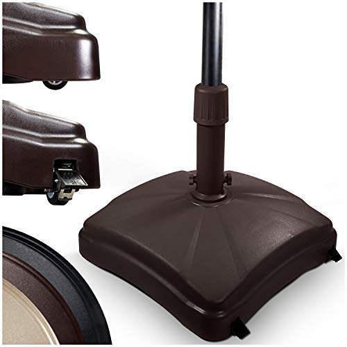 Shademobile Outdoor Umbrella Stand w/ Easy Rolling Base (up to 125lb) Heavy Duty Universal Design for Weighted Commercial Patio & Deck Big Mobile Sun Shade w/ Hidden Wheels | Bronze, Black, Sandstone (Costco Umbrella Deck)