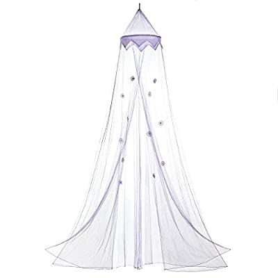 Purple Bed Canopy with Flower Ornaments