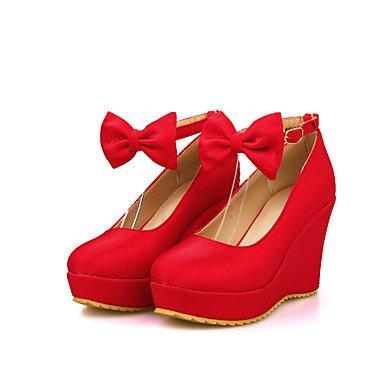 Talones de las mujeres Zapatos Primavera Verano Otoño Invierno club de cuero para oficina y del partido de la carrera y del vestido de noche de la cuña del talón BowknotBlack Red Sliver Red
