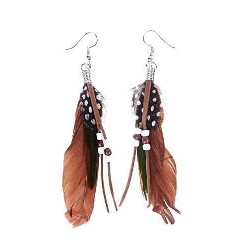 Peacock Party City Costume (Kloud City Bohemian Women Girls Vintage Feather Pendant Earrings Dangle Metal Hook Long Drop Earrings)