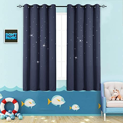 Nursery Blackout Curtains Kids Room Darkening Window Curtains for Bedroom 63 inches Long Twinkle Star Navy Blue Draperies for Living Room Grommet Top Thermal Insulated Window Treatment Set 2 Panels