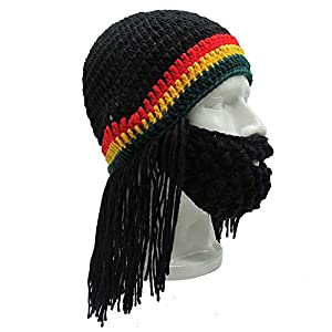 c8cb111ba22e8 YEKEYI Knitted Long Braid Hat African Dreadlocks Cap Beanie Funny Beard Cap
