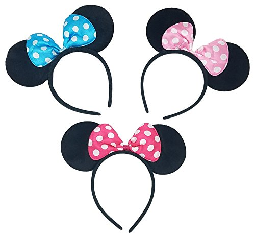[Adoara Minnie Mouse Felt Headbands [3-Pack] | Perfect for Parties, Dances, and Halloween, and as Party Favors or Simply a Beautiful Accent to Your Hair! (Light Pink, Hot Pink, & Sky] (Halloween Costumes With Pink Hair)