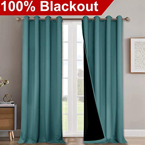 NICETOWN 100% Blackout Curtains 108 inches Long, Noise Reduction Window Treatment Curtains, Thermal Insulated Energy Smart Drapes and Draperies for Apartment Decor, Sea Teal, Set of 2, 52 inches W (Inch 108 Wide Curtains)