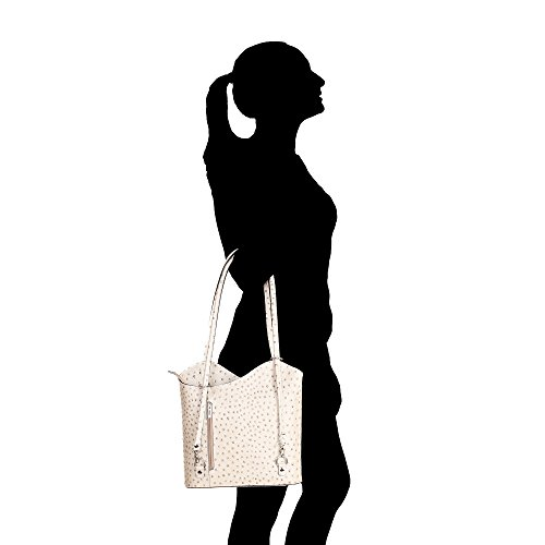 Pattern in Made Taupe Ostrich Bag Cm Leather Woman Italy Shoulder in Genuine Borse Chicca 28x30x9 awtqnCx