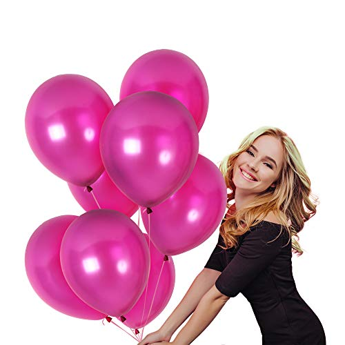 Treasures Gifted Magenta Pink Metallic Latex Balloons Kit for Valentines Sweet 16 Birthday Wedding Graduation Party Balloons Arch Supplies (36