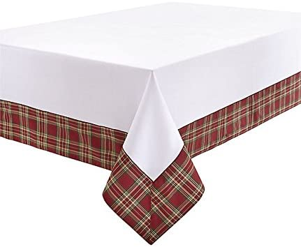 Amazon Com Waterford Highland Tablecloth 70 X 104 Inches Oblong Rectangular Red Green Gold Border On Pearl White Kitchen Dining